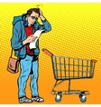 The buyer with a grocery cart vector image