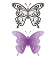 Butterflies outline and lilac vector image vector image