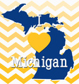 Blue and Yellow Chevron Michigan card vector image
