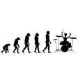 Evolution drummer silhouette on white background vector image