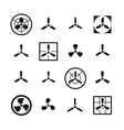 Fans propellers icons set vector image