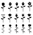 flower icons for pattern with white background vector image