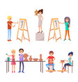 happy students improving their skills vector image