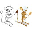 Jerboa chef outline vector image