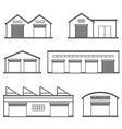 Set of four warehouses Storehouse building vector image
