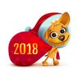 yellow dog symbol of year 2018 funny santa dog vector image