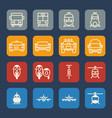 vehicle and transportation icons set flat design vector image