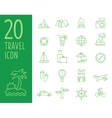 Set of green travel icons travel icons in vector image