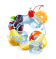 Multifruit with ice cubes and water splash icon vector image
