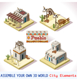 Pueblo Tiles 01 Set Isometric vector image