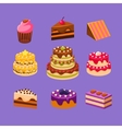 Cakes and Desserts Set vector image