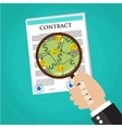 Cartoon businessman hand checking contract vector image