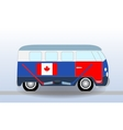 Cartoon minibus with Hockey Stick and Puck vector image