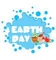 earth day poster with flower pot vector image