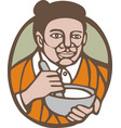 Granny Cook Mixing Bowl Oval Retro vector image