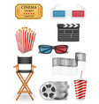 set cinema icons stock vector image