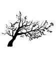 Tree in wind with flying leaves vector image