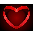 valentines day heart from red silk ribbon vector image
