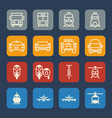 vehicle and transportation icons set flat design vector image