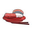 sushi japanese food on a plate roll rice seafood vector image