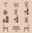 Drinks icons set in restaurant vector image vector image