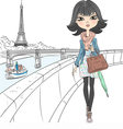 Beautiful fashion girl in a scarf in Paris vector image