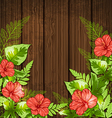 Green tropical leaves and flowers vector image