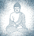 Buddha in meditation with glitter background vector image