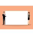 Businessman and woman pointing to the billboard vector image
