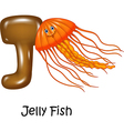 Cartoon of J Letter for Jelly fish vector image