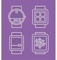 Wrist Watch Phone flat white line drawn icon vector image