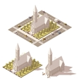 isometric low poly church icon vector image vector image