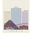 Memphis skyline poster vector image