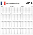 Calendar 2014 French Type 22 vector image vector image