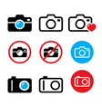 camera taking photos no camera sign icons vector image