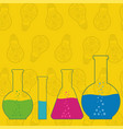 flasks beakers and test-tubes chemical laboratory vector image