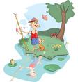 fisherman and cat cartoon vector image