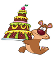 bear and cake vector image vector image