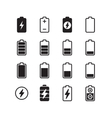 Electric battery accumulator energy icons vector image