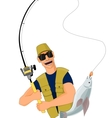 Fisherman caught a fish vector image