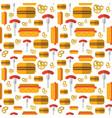 seamless pattern hot dogs pretzels german vector image
