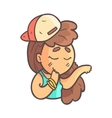 Feeling Shy Girl In Cap Choker And Blue Top Hand vector image