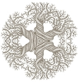 Circular ornament from abstract tree with curling vector image