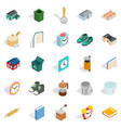 home library icons set isometric style vector image