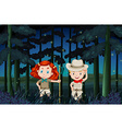 Boy and girl camping out at night vector image