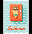 Enjoy tropical summer holiday with little boy 2 vector image