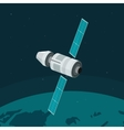 Space station flying on earth orbit vector image