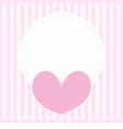 Valentines card with pink heart and white place vector image