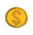 drawing gold coin money dollar vector image