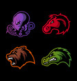 furious octopus bear alligator and horse head vector image